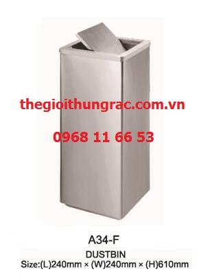 thùng rác inox nắp lật A34-F