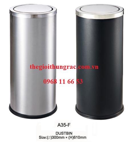 thùng rác inox nắp lật A35-F