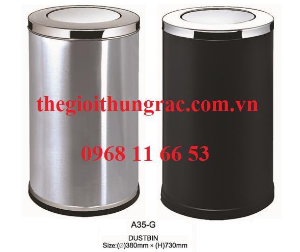 thùng rác inox nắp lật A35-G