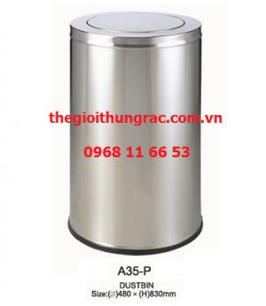 Thùng rác inox A35-P (nắp lật)